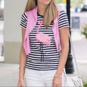 J. Crew Palm Sequin Flamingo Striped Collector T